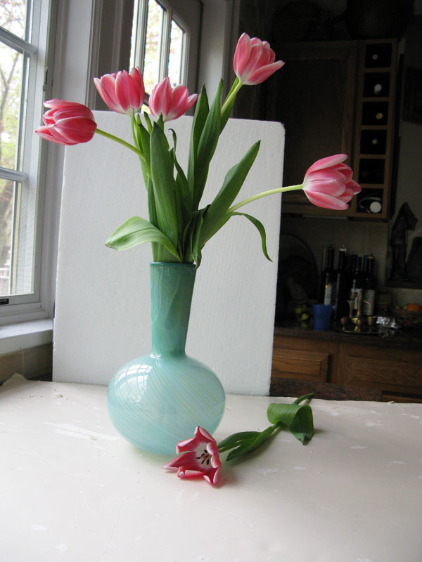 photograph of tulips in vase